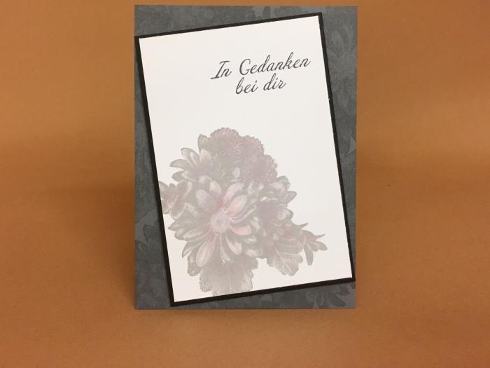 """Eine Trauerkarte mit """"Blumen vonHerzen"""""""