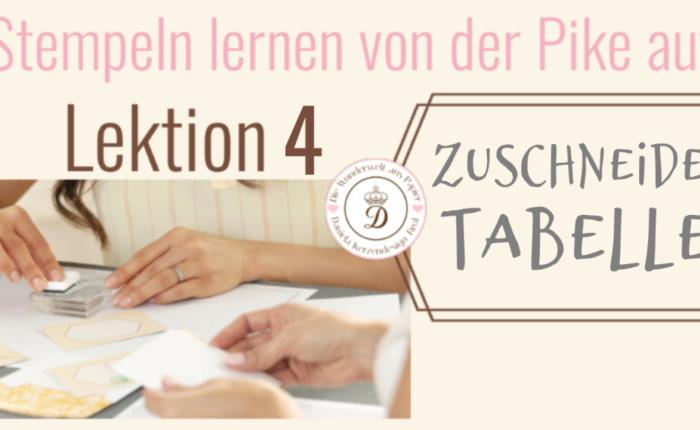 Papier Zuschneide Tabelle – Stempeln lernen von der Pikeauf